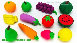 Learn Names of Fruits & Vegetables with Play Doh Surprise Toys Kinder Joy Disney Cars 3 Fun for Kids