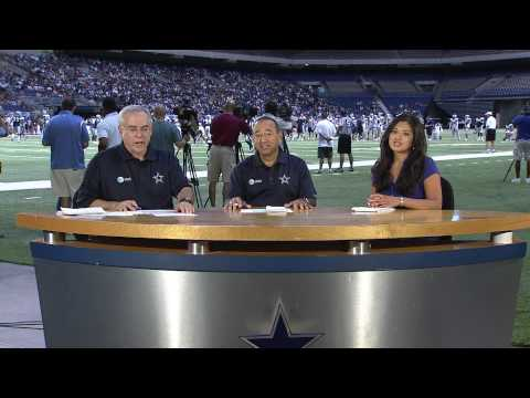 "Sara Eckert on the set of ""Training Camp Round Up"" with Brad Sham and Mickey Spagnola for her ""Whataburger Feature-of-the-Day"" which aired on Fox Sports Southwest during the 2010 Dallas Cowboys..."
