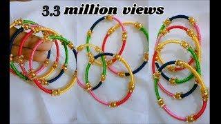 Thin bangle set - Making with silk thread | jewellery tutorials