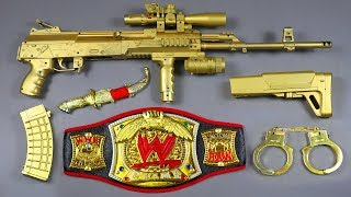 Box of Toys with WWE RAW Championship Belt Wrestling & Realistic AK47 Toy Gun - Ball Bullet Gun Toys