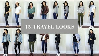 15 TRAVEL OUTFITS | Easy Travel Lookbook