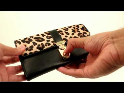 Ladies Lydc Designer Leopard Animal Print Fur Purse Women Leather Style Wallet