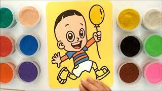 Đồ chơi trẻ em TÔ MÀU TRANH CÁT CẬU BÉ CẦM BONG BÓNG - Learn colors with sand painting toys