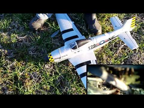 Harbor Freight P51 Mustang RC Airplane Crash On Board Video Camera