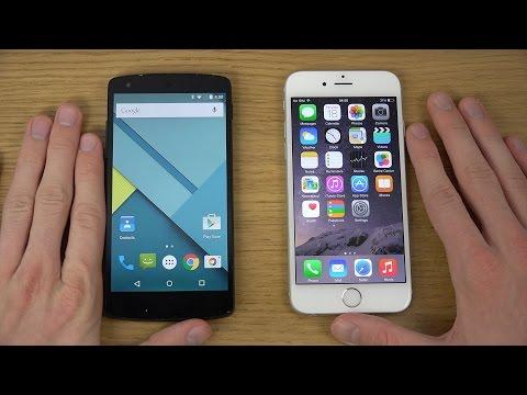 Nexus 5 Android 5.0 Lollipop vs. iPhone 6 iOS 8 - Review (4K)