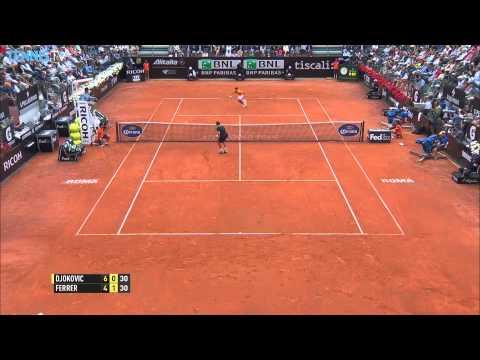 Novak Djokovic Hot Shot Rome 2015 vs. David Ferrer