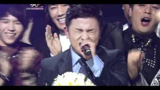 110930 MuBank SJ celeting Huhgak's WIN & Kyuhyun sings 'Hello' for Huhgak