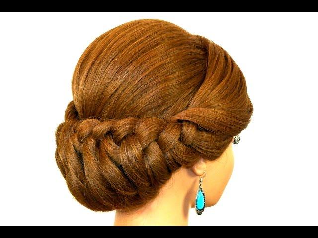 Легкая прическа на каждый день с плетением для средних волос