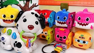Pinkfong Shark Family were taken in! Baby Shark & VTech Pull and Sing Puppy! Go! #PinkyPopTOY