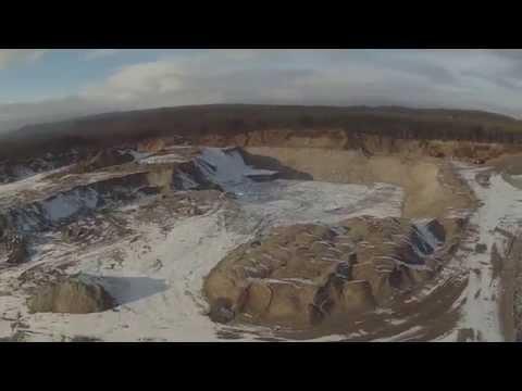 The first winter flight. Sand quarry. Lavna. Murmansk region.