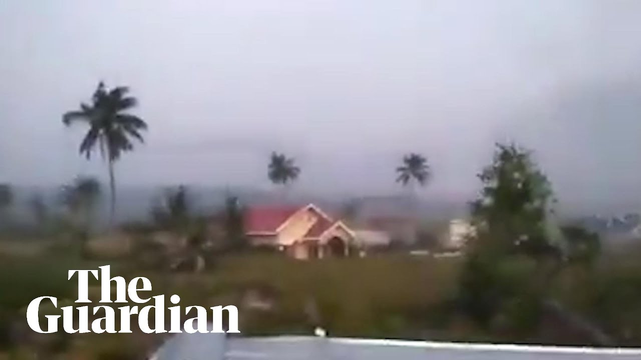 Footage shows Indonesian earthquake causing soil liquefaction