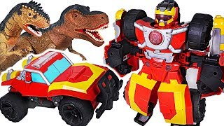 Transformers Rescue Bots Academy Electronic Hot Shot! Defeat the giant dinosuars! #DuDuPopTOY