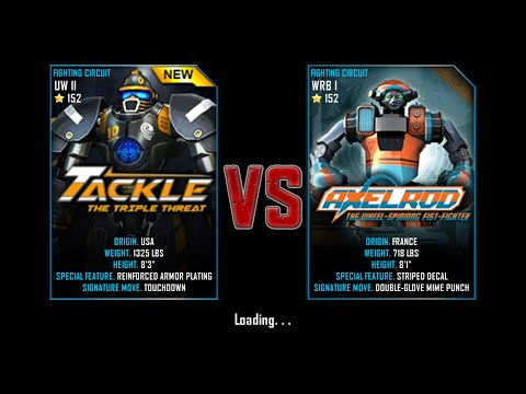 Real Steel WRB Free Sparring   Tackle(UW II-152) VS AxelRod(WRB I-152)   NEW ROBOT UPDATE