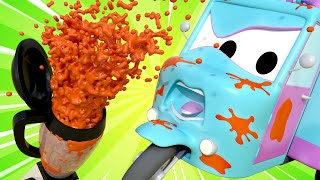 Tom the Tow Truck's Car Wash -  Carry is making smoothies - Car City ! Trucks Cartoon for kids