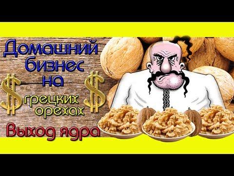 Домашний Ореховый Бизнес/Выход ядра после колки.