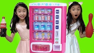 Chloe & Kaycee Pretend Play w/ Pink Vending Machine Soda Kids Toys