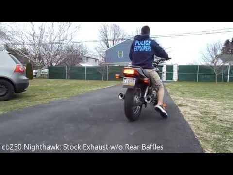cb250 Nighthawk Exhaust With and Without Baffles