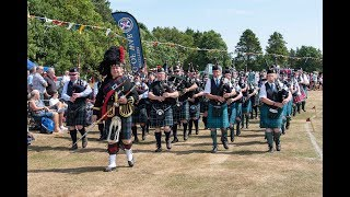 Stonehaven Highland Games 2018 - Massed Bands closing parade and pipe bands prize-giving