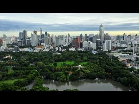 BANGKOK City SKYLINE Views from a DRONE in LUMPINI PARK