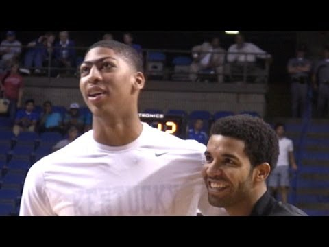 Anthony Davis impressed his coach Drake by dropping 40 points and leading his white team over the blue team in 28 point victory. Davis got Drake out of his s...