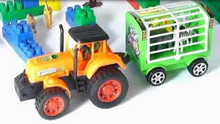 Tractor for children. Learn wild animals in English! Cartoons for babies 1 year