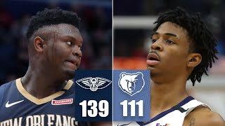 Zion Williamson and Ja Morant battle in first NBA matchup vs. each other | 2019-20 NBA Highlights