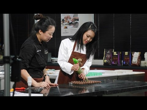 Channel News Asia's Teresa Tang at a chocolate class held by Chef Seung Yun Lee