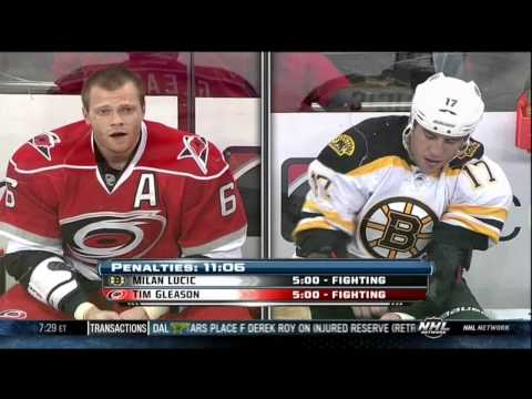 Tim Gleason vs Milan Lucic fight 28 Jan 2013 Carolina Hurricanes vs Boston Bruins NHL Hockey