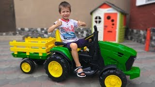 Damian Plays with New Tractor Unboxing and Assembling Power Wheels Toys and Ride on Truck