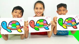 KuMin Kids Go To School Learn Coloring Rainbow Turtle at Classroom Funny