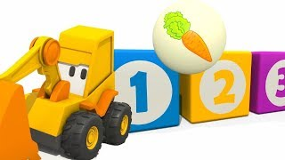 Excavator for kids. Learn vegetables for kids. Baby cartoon.