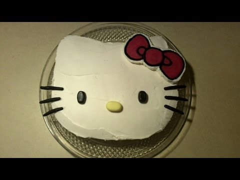 How to Make a Hello Kitty Birthday Cake Decorating Tutorial Part 2- No Shaped Pan Needed