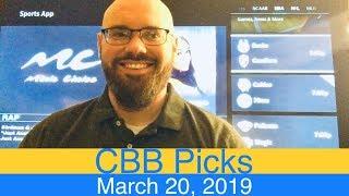CBB Picks (3-20-19) | College Basketball NCAAB Expert Predictions Video CBK NCAAM | March 20, 2019
