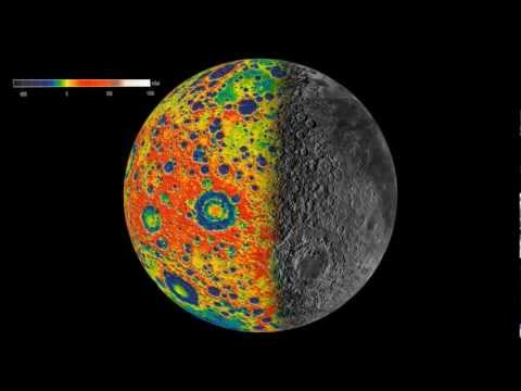 Gravity Field of the Moon overlaid with terrain map