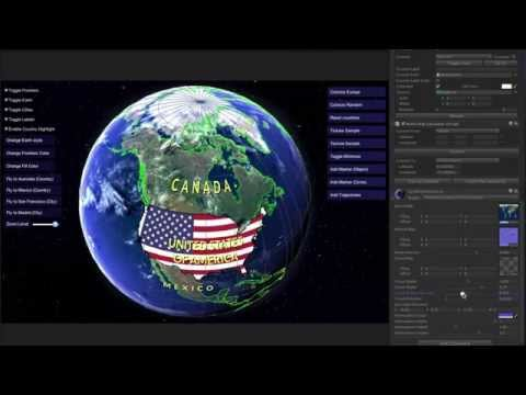 World Political Map Globe Edition for Unity (Scenic mode + grid mask demo)