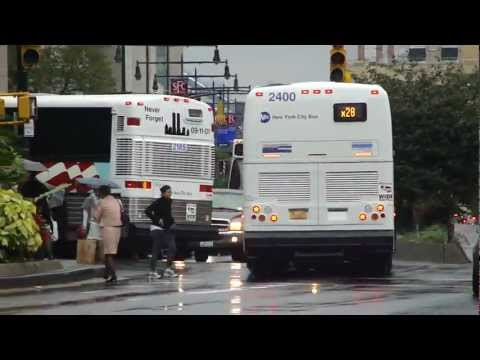 MTA NYCT Bus: 2011 Prevost X3-45 #2400 & 2001 MCI D4500 #2185 The 9/11 WTC Bus at Boerum Pl