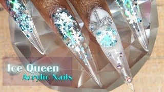 Ice Queen Acrylic Nails | 3D Christmas Ornament | LongHairPrettyNails