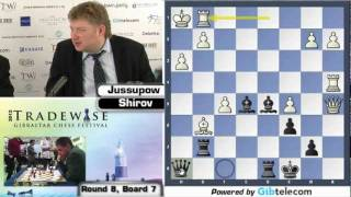 Alexei Shirov shows win over Jussupow (Gibraltar Chess Festival - Round 8)