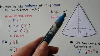 G.E.D. Math 23d, Pyramids and Cones (volume & base area)