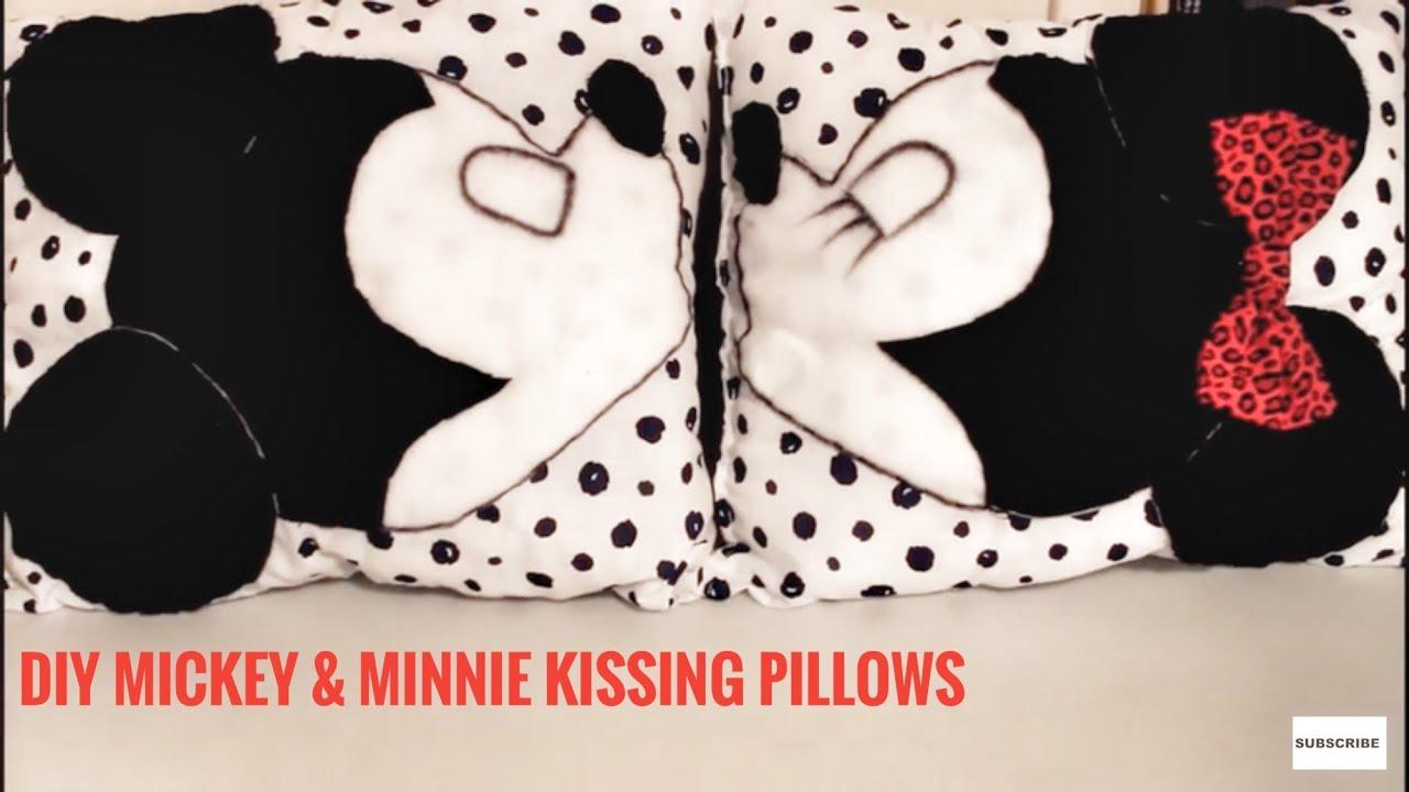 Diy mickey minnie kissing pillows room decor youtube for Mickey minnie kissing bedding