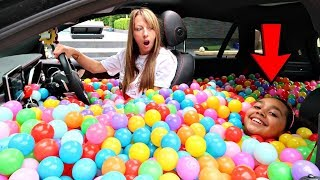 BALL PIT PRANK IN MY MOM'S CAR!!