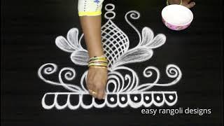Latest Daily Routine Door Step Muggulu || Easy & Simple Rangoli Kolam