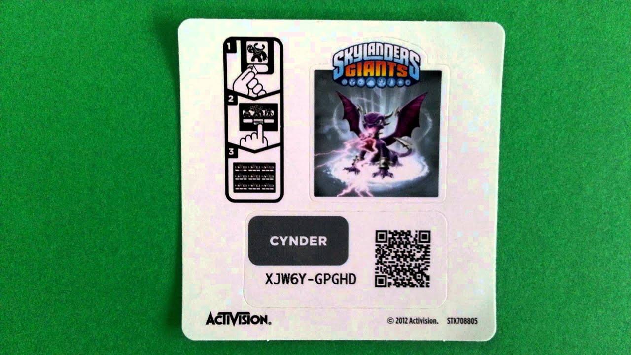 CYNDER Skylanders Giants webcode / onlinecode unused Code #2 - YouTube