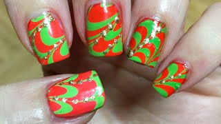 Water marble nail art step by step tutorial