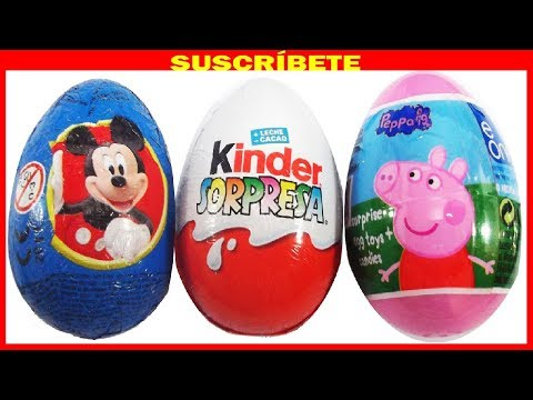 3 HUEVOS SORPRESA. PEPPA PIG. MICKY MOUSE Y MAGIC KINDER COLECCIÓN LOS PITUFOS 2.  SURPRISE EGG