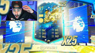 OMG!! 97 RATED TOTS IN 25 PL PLAYER PACKS!! FIFA 20 Ultimate team