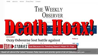 Fake News: Ozzy Osbourne Did NOT Lose Battle Against Pneumonia -- NOT Dead