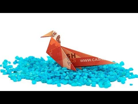 Geldschein falten Vogel, eine ENTE aus GELD falten, Origami Tiere