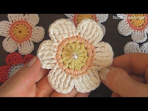 Crochet flower tutorial  VERY EASY crochet flower applique patterns
