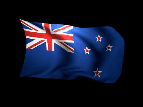 3D Rendering of the flag of New Zealand waving in the wind.